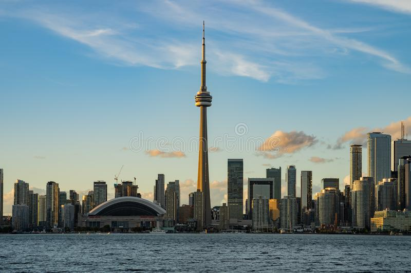 Sunset skyline of the Toronto city skyline with CN Tower royalty free stock images