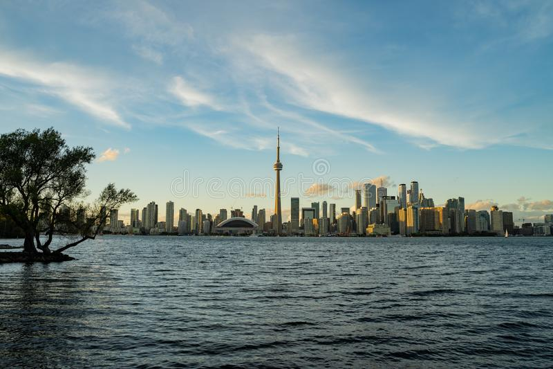 Sunset skyline of the Toronto city skyline with CN Tower. At Canada royalty free stock photography