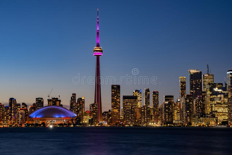 Sunset skyline of the Toronto city skyline with CN Tower. At Canada royalty free stock photos