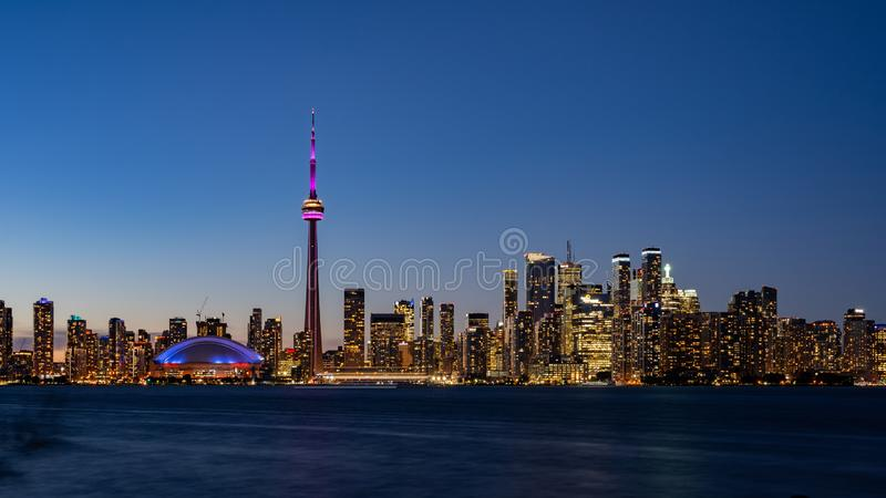 Sunset skyline of the Toronto city skyline with CN Tower. At Canada royalty free stock image