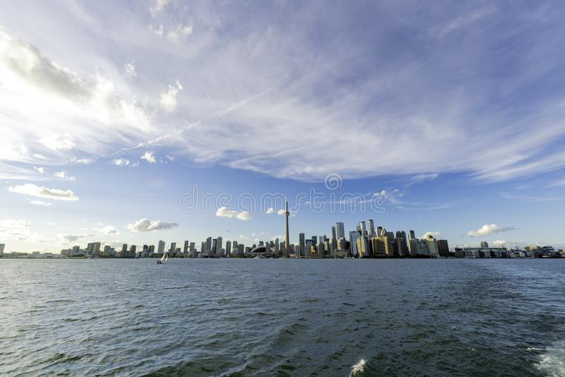Sunset skyline of the Toronto city skyline with CN Tower. At Canada stock photography