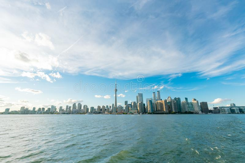 Sunset skyline of the Toronto city skyline with CN Tower. At Canada stock photo