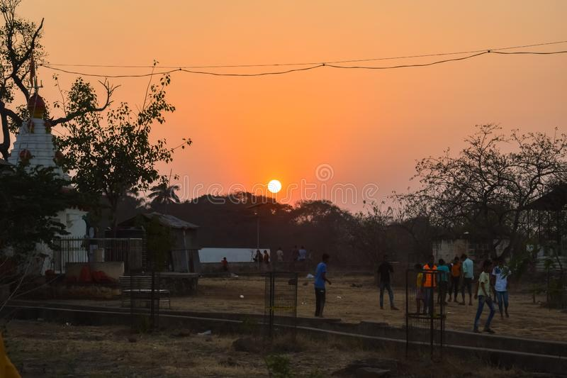 Sunset  on small hill gardan park stock images