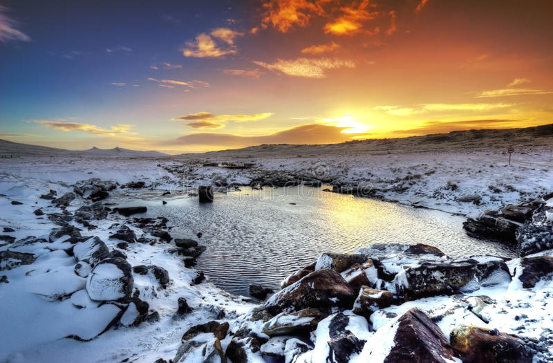 Sunset in the Snow royalty free stock images