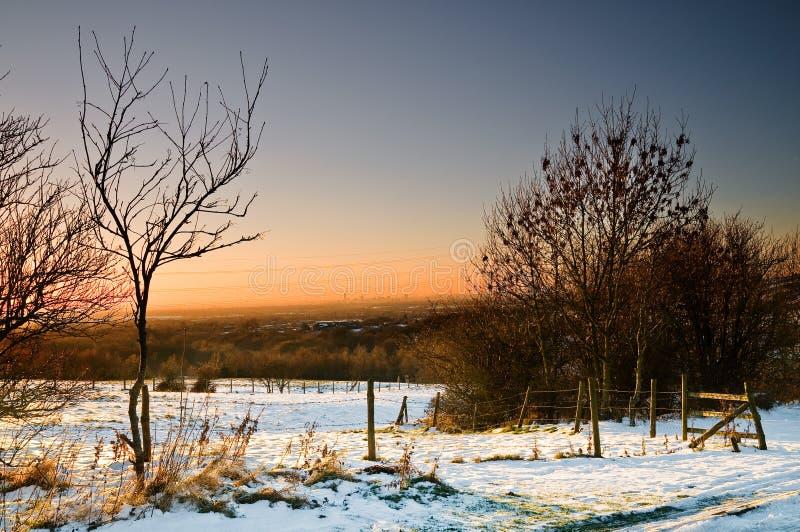 Sunset and snow at ashton under lyne