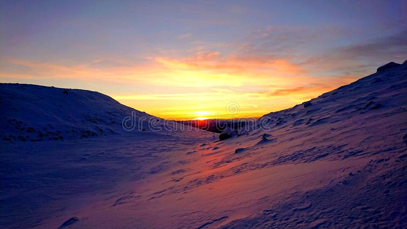 Sunset in the snow covered Mountain. Winter, blegjell, blefjell stock image