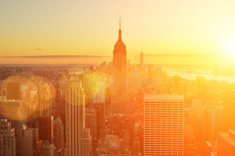 Sunset sobre Manhattan fotografia de stock royalty free
