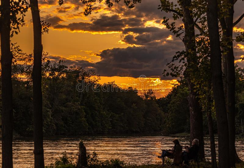 Sunset sobre o Delaware fotografia de stock