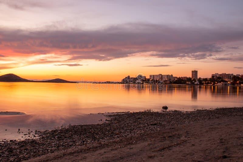 Sunset sobre o Mar Menor imagem de stock royalty free