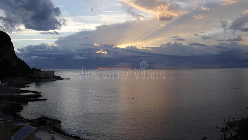 Sunset in Sorrento. Panoramic evening view of the city of Sorrento, on the Amalfi coast, Italy stock photography
