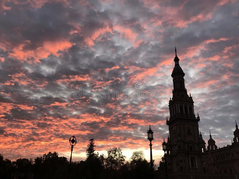 Sunset in the Spain Square stock image