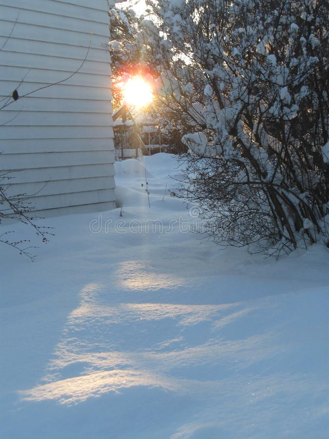 Download Sunset spills across snow stock image. Image of outside - 84138755