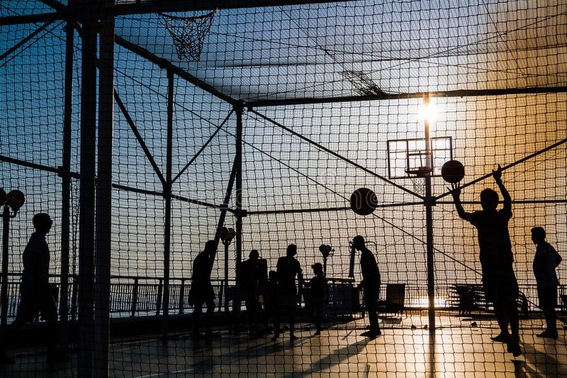 Sunset sport basket stock photo