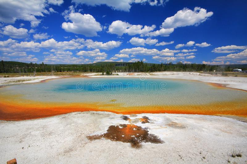 Colorful Sunset spring at Yellowstone stock photo