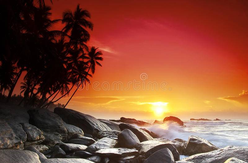 Sunset on Sri Lanka stock images