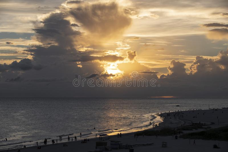 Sunset at St.Pete beach. Cloudy sunset at St.Pete`s beach stock images