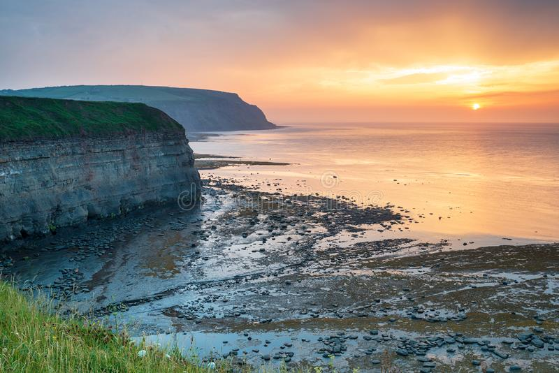 Sunset at Staithes stock image