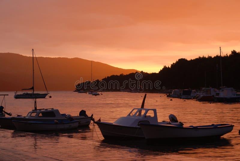 Sunset in Stari Grad. Hvar Island stock image