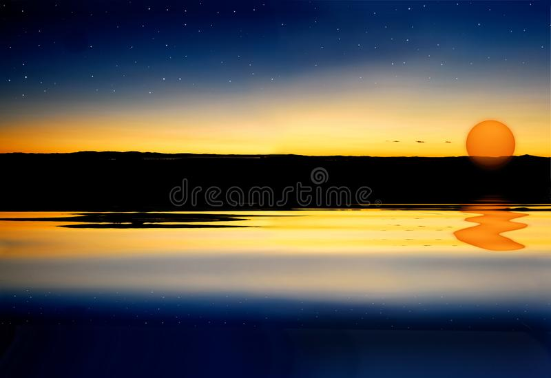 Sunset and stars stock photo