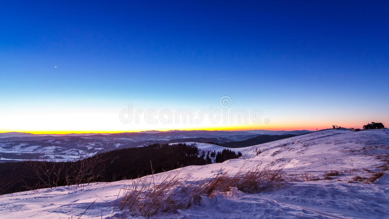 Sunset and stars at dusk in Carpathian mountain range. stock video footage