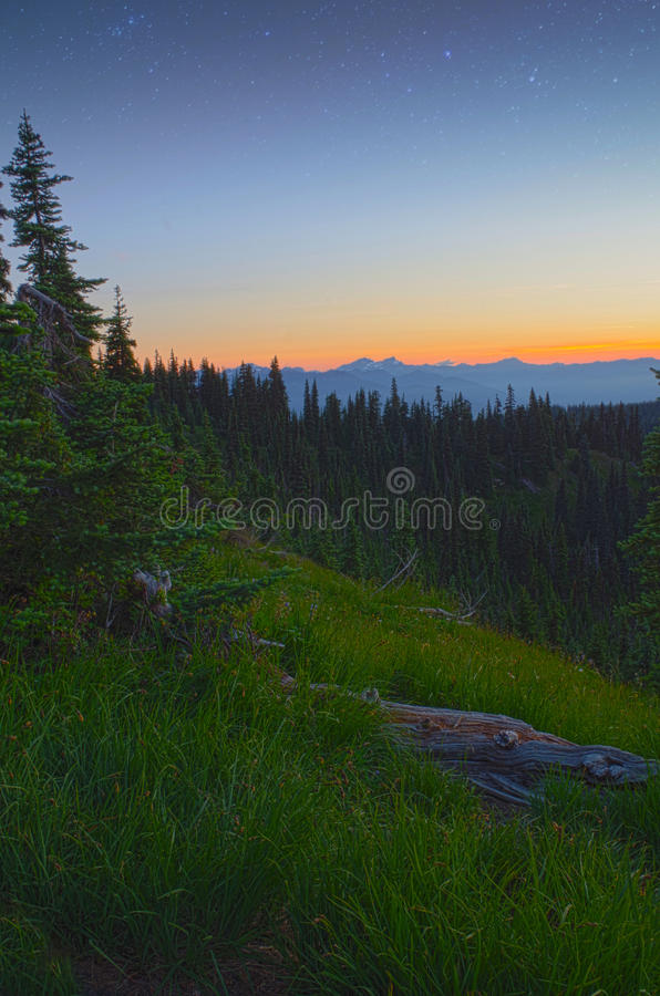 Download Sunset, Mountains, Meadows And Stars Stock Photo - Image of stars, ridge: 43491470