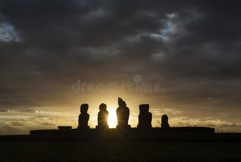 Sunset at the statues of Ahu Tahai at Easter Island Rapa Nui/ Isla de Pascua stock photography