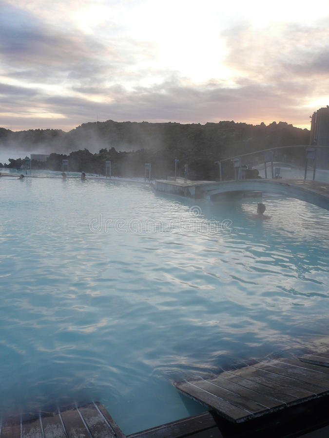 Sunset At The Steamy Blue Lagoon, Iceland Stock Photo