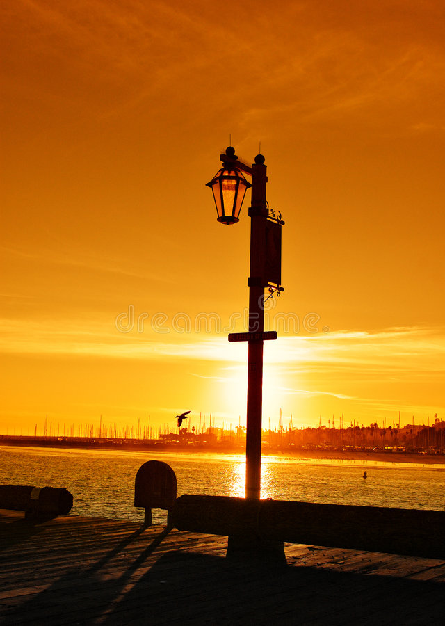 Download Sunset at Stearns Wharf stock photo. Image of sail, golden - 1791926
