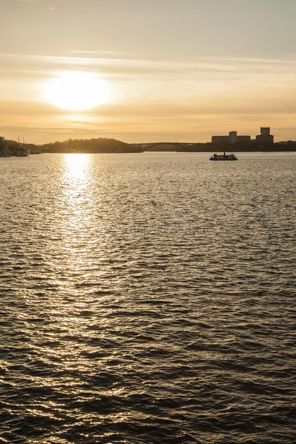 Sunset, Stockholm, Sweden/golden waters. stock photos