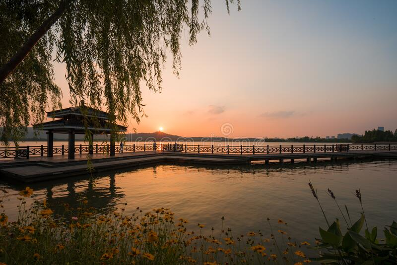 Sunset  Stone Lake royalty free stock photo
