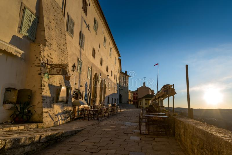 Town Motovun, Istria. Sunset on Street of Old Town Motovun, Istria, Croatia, photographed with my Nikon D750 at Winter afternoon stock images