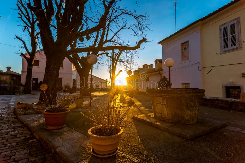 Sunset at Streets of Motovun, Istria, Croatia. Suset on Street of Old Town Motovun, Istria, Croatia, photographed with my Nikon D750 at Winter afternoon royalty free stock photo