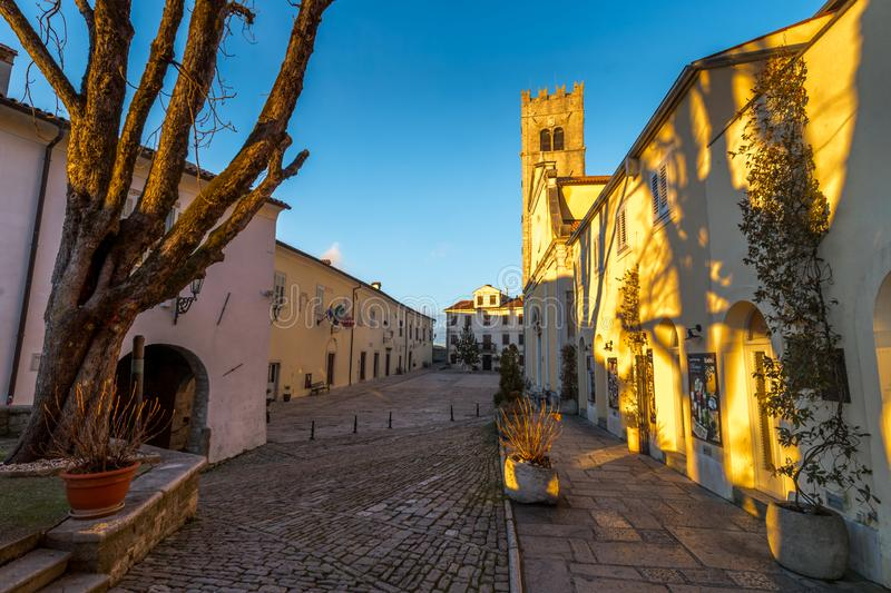 Sunset at Streets of Motovun, Istria. Sunset on Street of Old Town Motovun, Istria, Croatia, photographed with my Nikon D750 at Winter afternoon stock photos
