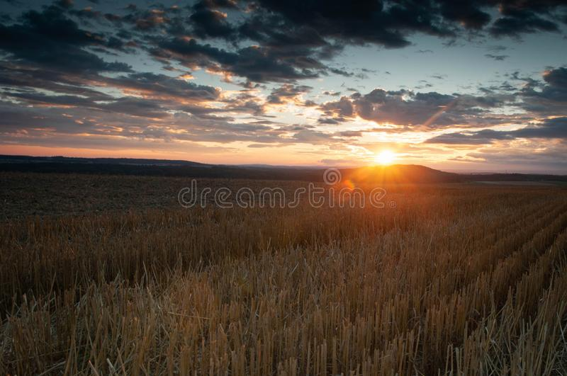 Sunset on stubble with dramatic clouds stock image