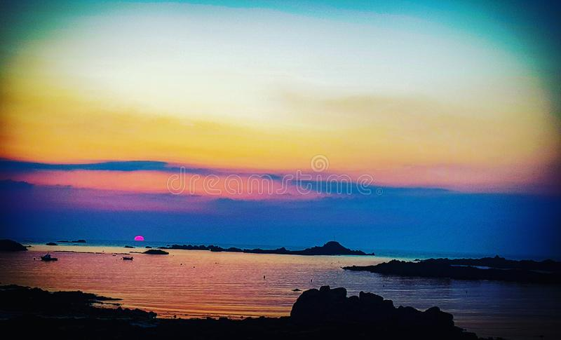 Sunset At Cobo Stock Photo Image Of Guernsey Reflection 122261974