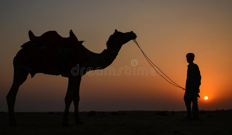 Sunset on a summer day. In a dessert at Rajasthan,India stock photo