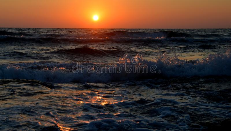 Sunset in summer stock image