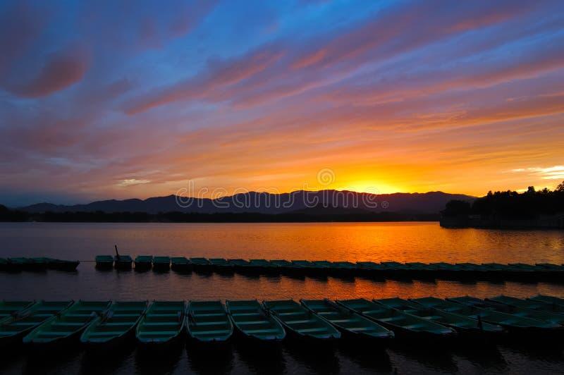 Download Sunset in Summer Palace stock image. Image of orange, hills - 3894817