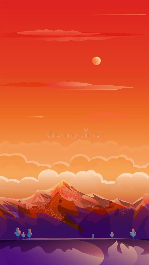 Sunset Summer Rocky Mountain landscape landing page background POP ART vector illustration