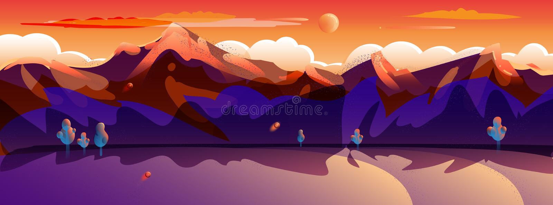 Sunset Summer Rocky Mountain landscape landing page background POP ART stock illustration