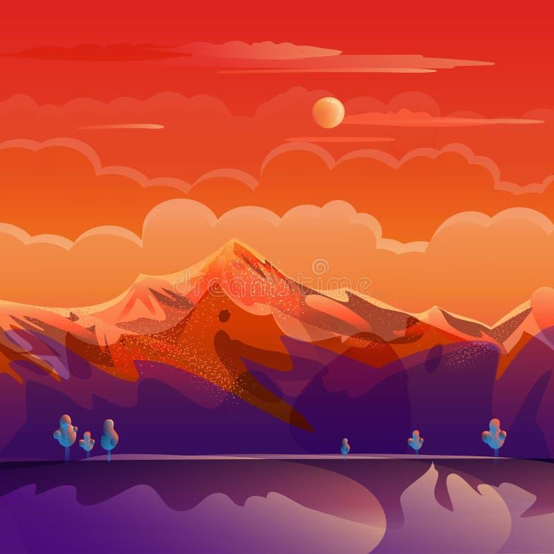 Sunset Summer Rocky Mountain landscape landing page background POP ART royalty free illustration
