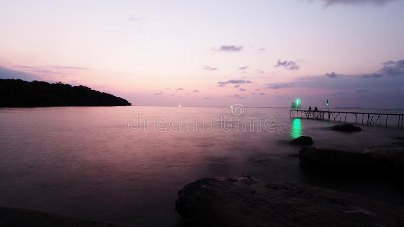 Sunset at summer sea. Summer Sea, Trat, Thailand royalty free stock images
