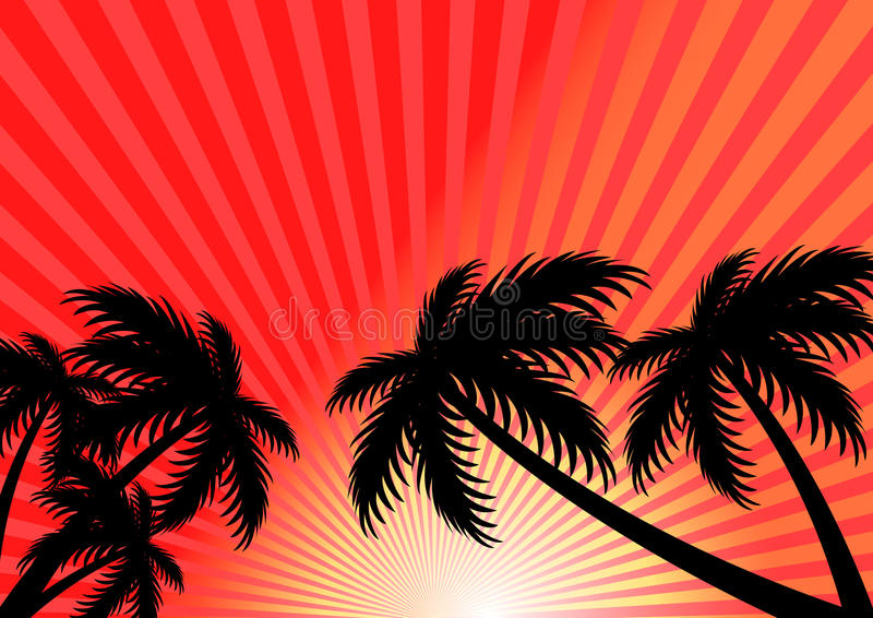 Sunset summer vector background royalty free stock images