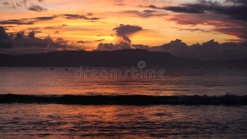 Sunset summer why smoke of moutain royalty free stock images