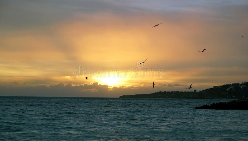 Sunset sun over the ocean. Bright colors of the evening sky. Gulls fly over the ocean. stock photography