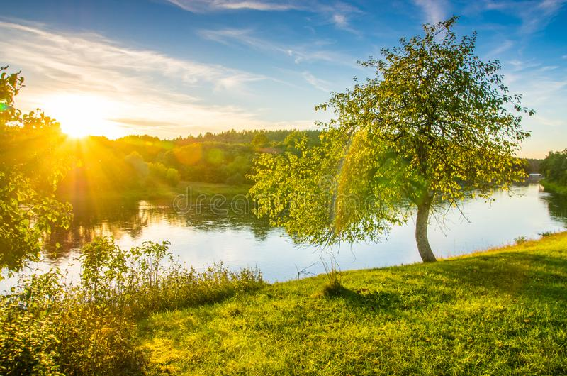 Sunset sun shine, river scenic landscape. Lithuanian countryside view stock photos