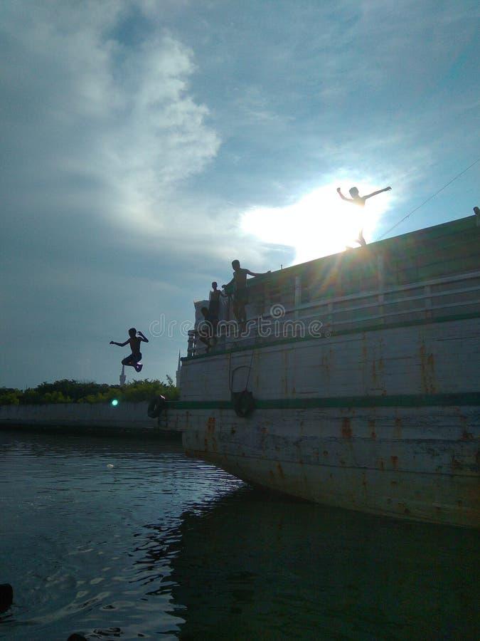 Sunset in Sunda Kelapa Port stock photos
