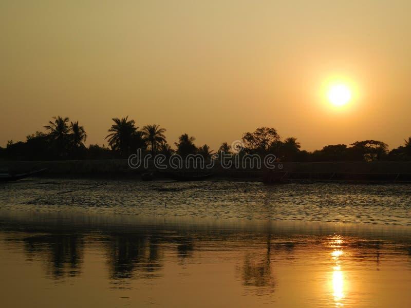 Sunset in Sundarban stock photography