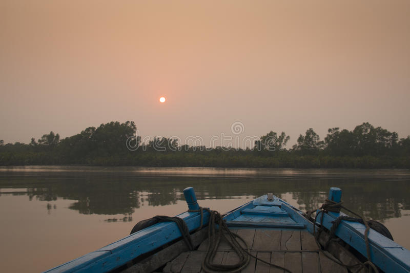 Sunset in Sundarbans national park in Bangladesh royalty free stock images