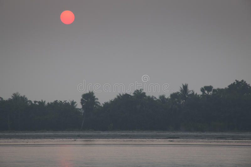 Sunset in Sundarbans national park in Bangladesh royalty free stock photos